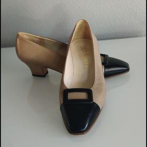 Chanel beige & black buckle heels pumps 38 1/2 - 8